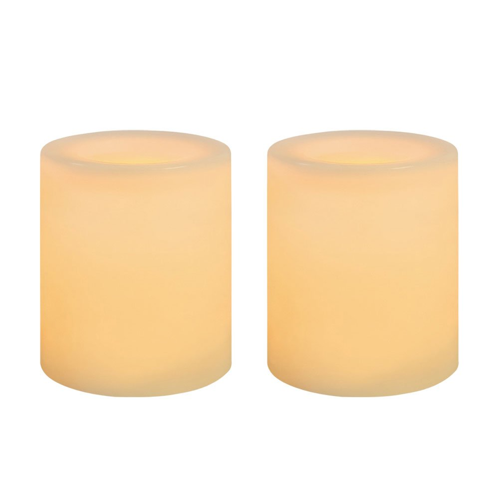Inglow by Sterno Home 1.75-Inch Tall Flameless Wax Covered Votive Candle with Embedded LED, Cream, 2-Pack