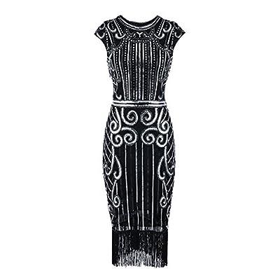 Baiggooswt 1920s Vintage Inspired Sequin Embellished Fringe Long Gatsby Flapper Dress