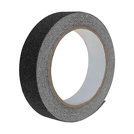 Negro no Deja residuos Adhesivos para Interiores y Exteriores Cinta de tracci/ón Antideslizante Alta tracci/ón 2,5 cm x 10 m Agarre Fuerte abrasivo