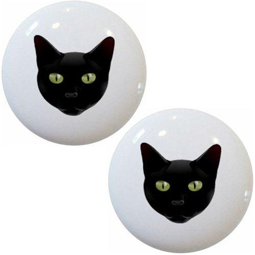 Set of 2 Black Cat Head Ceramic Cabinet Drawer Knobs