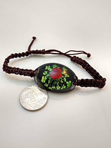 Red Flower Bracelet in Lucite