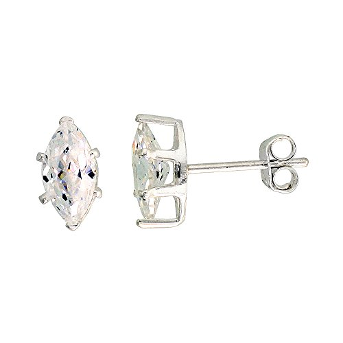 Sterling Silver Cubic Zirconia Marquise Earrings Studs 1 carat/pair ()