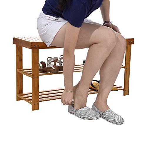Maikouhai Bamboo Change Shoe Stool Shoe Storage Cabinet Rack Simple Style for Living Room, Hallway, Corridor, Bedroom, Study, 88X28X45CM (Wicker Chest Cedar White)