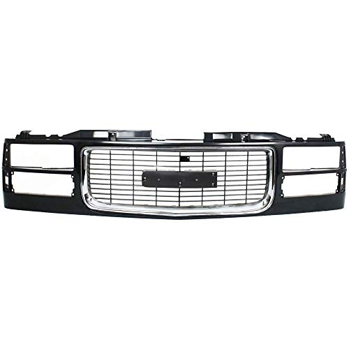 Grille Compatible with GMC C/K Full Size Pickup 94-02 Suburban 94-99 Cross Bar Chrome Insert Painted-Black W/Composite Headlights