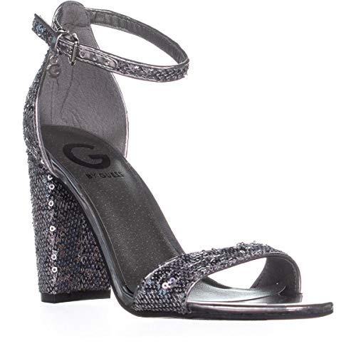 Guess G Shantel11 Ankle Strap Sandals, Silver Multi, 6 US (Sandals Strap Guess Ankle)