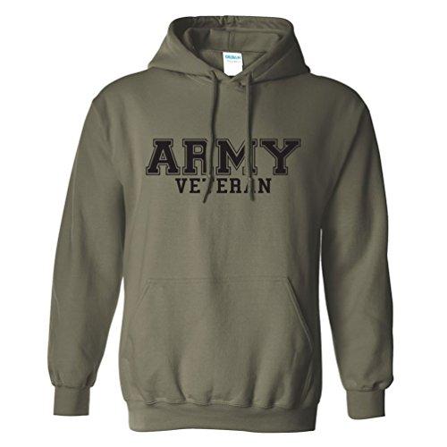 Sweatshirt Military Logo (Army Veteran BLACK logo Hooded Sweatshirt in Military Green - XXX-Large)