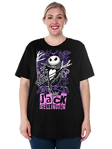 Disney Womens Plus Size T-Shirt Jack Skellington Nightmare Christmas (Black, ()