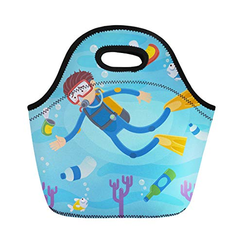 - Semtomn Lunch Bags Blue Plastic Scuba Divers Swimming on Coral Reefs Neoprene Lunch Bag Lunchbox Tote Bag Portable Picnic Bag Cooler Bag