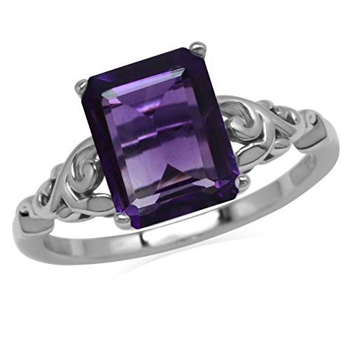 3.06ct. 10x8MM Octagon Natural African Amethyst 925 Sterling Silver Filigree Leaf Solitaire Ring Size 9