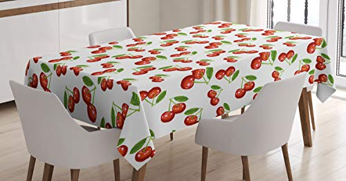 Ambesonne Fruit Tablecloth, Cherry Pattern Design Fresh Berry Fruit Summer Garden Macro Digital Print, Dining Room Kitchen Rectangular Table Cover, 60 W X 90 L Inches, Red Green White