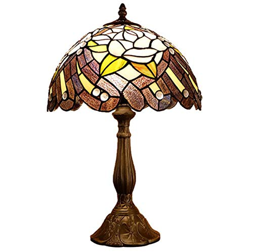 (GDLight Tiffany Style Rose Table Lamp Vintage Phoenix Tail Stained Glass Bedside Lamp with Alloy Base for Bedroom Living Room, 19.6 Inch)