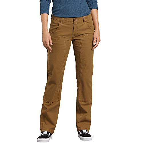 (Dickies Women's Stretch Duck Double Front Carpenter Pant, Rinsed Brown, 8)