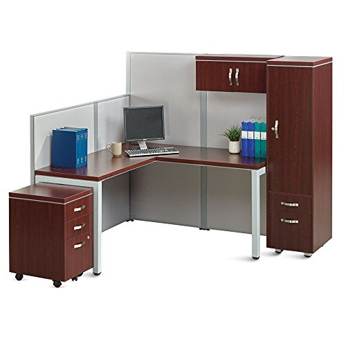 Instant Office L-Desk Station with Wardrobe Mahogany Laminate/Gray Fabric/Silver Frame and Legs Weight: 522 lbs.Assembly Isntructions - Mahogany Office Wardrobe