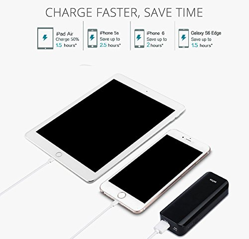 SUPER-BAB Portable Phone Charger, British Style Slim2 5200mAh/19.24Wh Black, Lightweight Power Bankwith iSmart Technology for Iphones, Ipad, IPods, Samsung Galaxy Series Smartphones