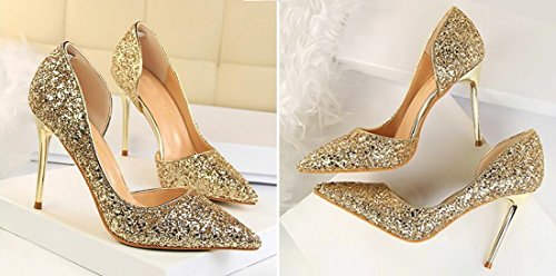 Patent The Shoes Pumps Stiletto Women Hollow Cm Qiyun 9 Wedding High Gold Heel z Sequins Toe Dress Of Side Pointed 5 OIXqB