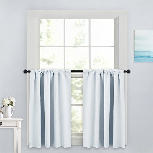 PONY DANCE Small Kitchen Valances - Rod Pocket Curtain Panels Thermal Insulated Window Drapes for Nursery/Kitchen/Living Room, 42