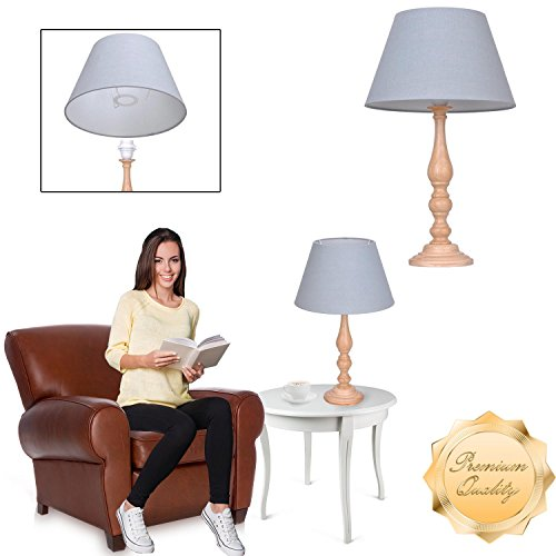 Wood Global Shade (GC Global Direct 19 Inch Modern European Wood Table Lamp with Linen Shade (Wood/Gray))