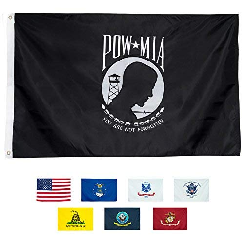 Embroidered Emblems - Front Line Flags POW MIA Flag 3x5 | Long Lasting Nylon Embroidered Emblem with Quadruple Stitched Fly End 100% Guarantee | Premium Quality | US Military Banner for Indoor or Outdoor Use