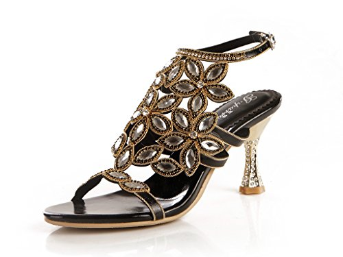 Womens black Evening Shining Microfiber Bride Bridesmaid Heel Wedding CRC Show Sparkle Party Unique Sandals Rhinestone Material Flared 4wnad