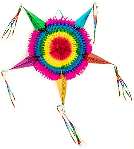 Mexican Traditional Cardboard Star Pinata, Multi Colored Ideal for Birthday Fiesta Party Supplies Decoration. Extra Large 36 Inch Tassel to -