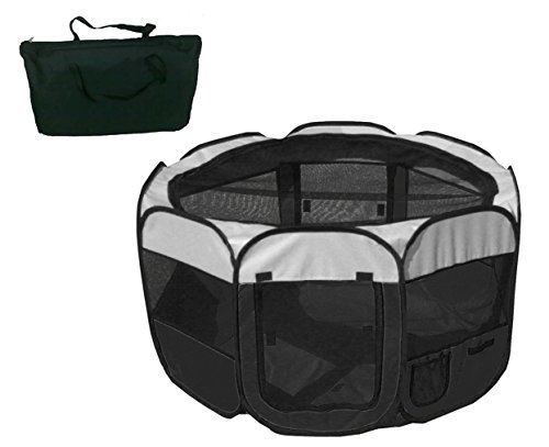 All-Terrain' Lightweight Easy Folding Wire-Framed Collapsible Travel Pet Playpen- Black And White , Size:=Large,Home, garden & living||Pet supplies||Crates & Accessories