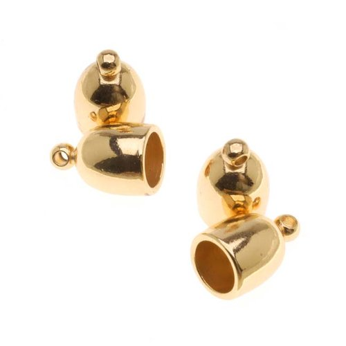 (Beadsmith Cord Ends, Bullet with Ring 12mm, Fits 6mm Cord, 4 Pieces, Gold)