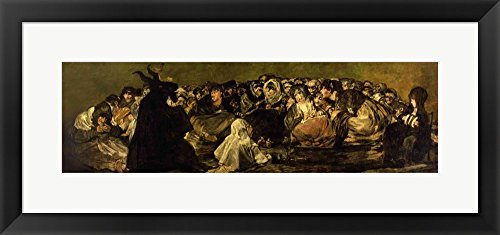 The Witches' Sabbath by Francisco De Goya Framed Art Print Wall Picture, Black Frame with Hanging Cleat, 28 x 13 inches