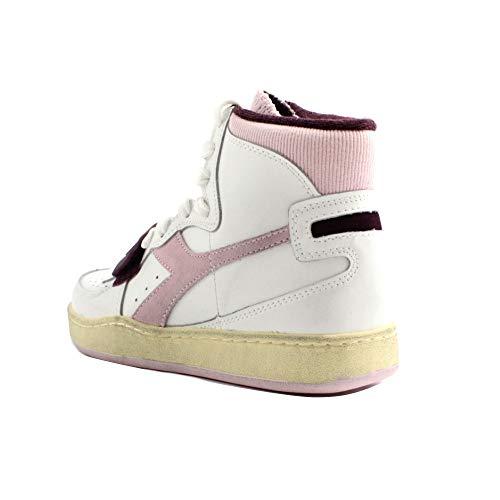 Antiscivolo Sport In E Sneakers Logo Stringe Used Velcro Tessuto Basket Pelle Con Sulle Alte Camoscio Mi Laterale Fondo Donna Modello Diadora Gomma Bianco Rosa gtAv6qA