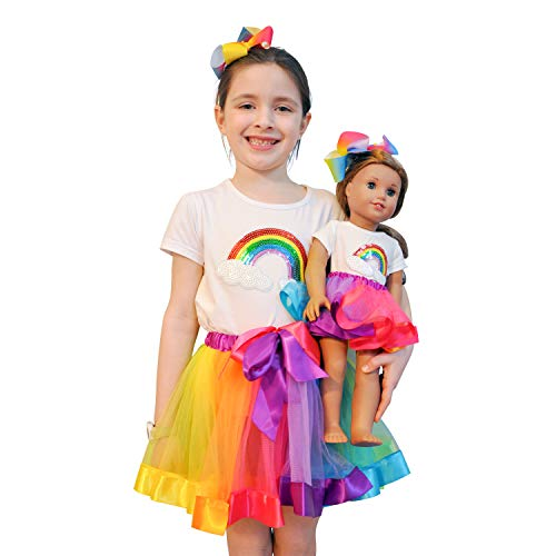 (ZITA ELEMENT Rainbow Clothes and Hair Accessories for American 18 Inch Girl Doll Matching Girls Outfits - 2 Cotton Shirts with Sequins Rainbow, 2 Rainbow Tutu Skirts & 2 Bow Hair Clips)