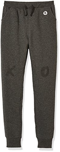 Kid Nation Kids' Soft Brushed Fleece Casual Pull-On Fashion Jogger Sweatpant with Pockets for Boys or Girls M Charcoal Gray Heather