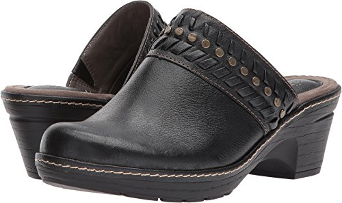 Women's Eurosoft, Belina Mid Heel Clogs Black 8.5 M (Heels Leather Clogs Black)
