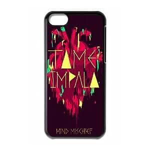 Tame Impala 001 funda iPhone 5C Negro de la cubierta del teléfono celular de la cubierta del caso funda EVAXLKNBC19114