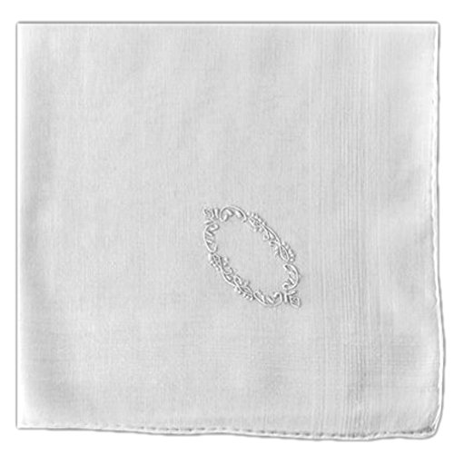 - Handkerchief Pocket Square White Fine Cotton with Madeira Crest Embroidery 19 X 19 Inch (Pack of 2)