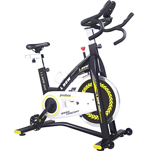 L NOW Indoor Exercise Bike Indoor Cycling Stationary Bike, Belt Drive with Heart Rate, Adjustable Seat and Handlebar, Stable Quiet and Smooth for Home Cardio Workout(D601)