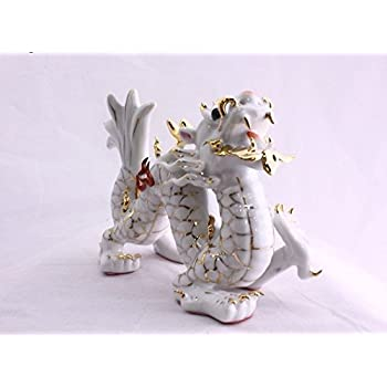 Hand Crafted and Decorated Fine Chinese Porcelain Figurine 149-544 Feng Shui White Lion