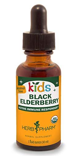 Herb Pharm Kids Certified-Organic Alcohol-Free Black Elderberry Glycerite Liquid Extract, 1 Ounce
