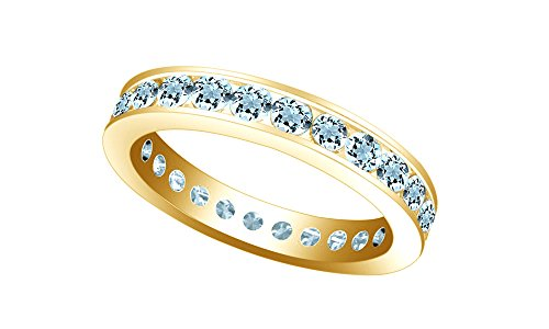 (Jewel Zone US Simulated Aquamarine Stackable Eternity Band Ring in 14k Gold Over Sterling Silver)