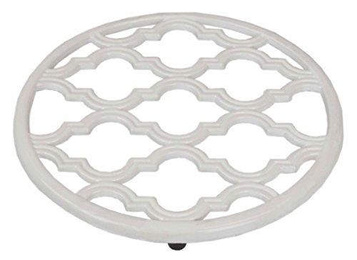 Trivet Collection - Home Basics Lattice Collection Cast Iron Pot Holder Trivet (White)