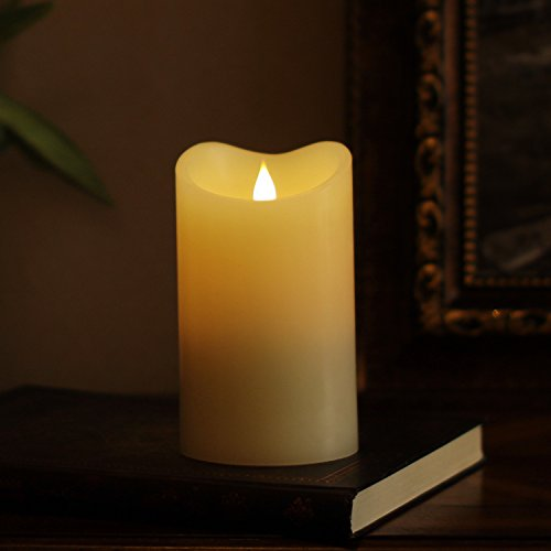 3D Flameless Led Candle with Timer, Moving Wick Pillar Candle for Home Decoration, 3.75x6.5 Inch, Ivory