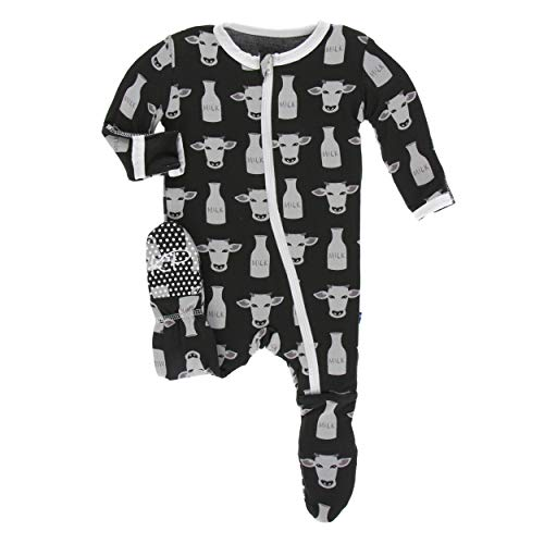 (Kickee Pants Little Boys Print Footie with Zipper - Zebra Tuscan Cow, Newborn)