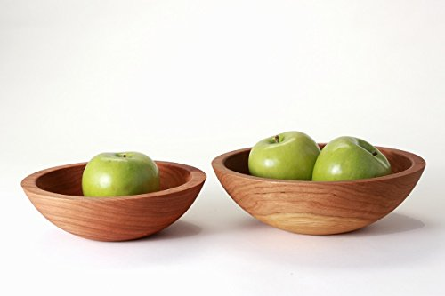 Oversized Wood Side Salad Bowl Sets 2x Larger than Standard Bowl made in New England