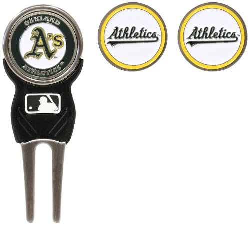 (Team Golf MLB Oakland Athletics Divot Tool with 3 Golf Ball Markers Pack, Markers are Removable Magnetic Double-Sided)