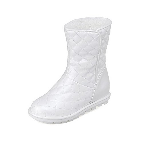 Round Odomolor Toe Low Solid On Boots Closed Pull White Pu Women's Heels wAq0OZ