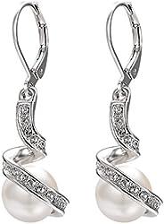 vogem 18K Gold Plated Crystal/Pearl Earrings Spiral CZ Crystal Leverback Dangle Earrings for Women Fashion Ele