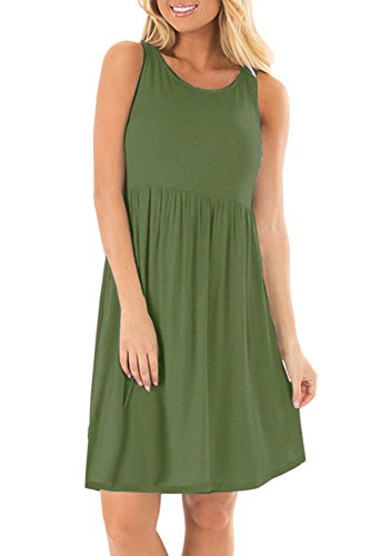 Army Green Plain Women's Sleeveless AUSELILY Casual Short Loose Tank Dresses 8CBTx