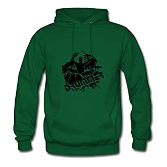Diatinguish Cool Customizable Hoody Cotton A Drummer And His Drums X-large Women Green