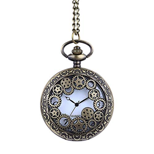 Orcbee  _Personality Classic Retro Quartz Watch Punk Pocket Watch Necklace Gift for Birthday ()
