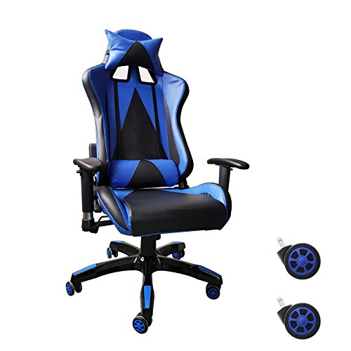 41VgEGwdQWL - Video Gaming Chair Executive Swivel Racing Style High-Back Office Chair Lumbar Support Ergonomic With Headrest - Blue