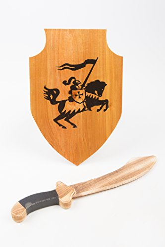 Sword and Shield, Medieval Shield, Wooden Sword and Shield Set; Toy Sword and Shield -