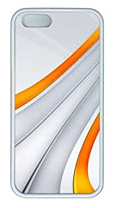 3D Orange And Silver Stripe pc Silicone pc iPhone 5 and iPhone 5S Case Cover - White